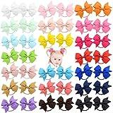 40pcs 2 Zoll Baby Mädchen Haarschleifen Haargummis Elastisches Stirnband Pferdeschwanzhalter Haarband Haarschmuck für Kinder Kleinkinder