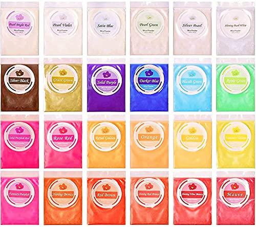 DEWEL Pearl Mica Powder, 24 * 10g colores para resina epoxi Fabricación de slimo, jabón, bombas de baño, maquillaje de Halloween para colorear mica