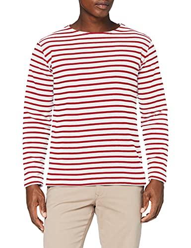 Armor Lux Herren Marinière Houat Héritage Homme T-Shirt, Mehrfarbig (320 Weiß/Braise 320 Weiß/Braun), XL