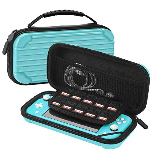 TNP Travel Carry Case for Nintendo Switch Lite Luggage Hard Shell PC Material Portable Travel Deluxe Cover w/ Console Strap Handle, 8 Game Slot Card Holder, Mesh Accessories Pouch (Blue)