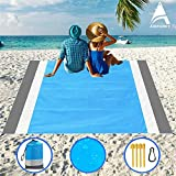 Beach Blanket, Beach Mat Outdoor Picnic Blanket Large Sand Free Compact for 7 Persons Water Proof And Quick Drying Beach Mat Mady by Premium Nylon Pocket Picnic Sheet For Outdoor Travel ( 78' X 81')