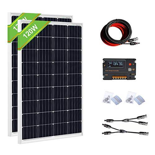 ECO-WORTHY 240W 12V/24V Off-Grid-Sonnenkollektor-Kits: 2 Stück 120W Solarpanel + 20A-Batterie-Regler laden intelligenten Controller für das 12/24V-Ladesystem im Home Boat Caravan auf