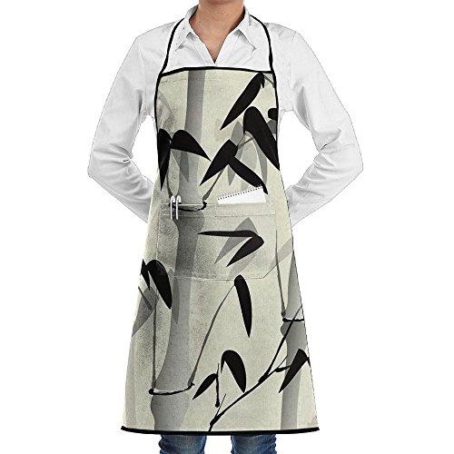 Kitchen Bib Apron Neck Waist Tie Center Kangaroo Pocket Bamboo Cartoon Style Waterproof