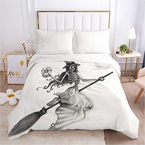 Dollin&Dockin Home beddengoed textiel dekbedovertrek Bed-In-A-Bag 3D Fancy zwart en wit schedel heks slaap comfortabele ademende rits sluiting Queen King klassieke grootte past iedereen
