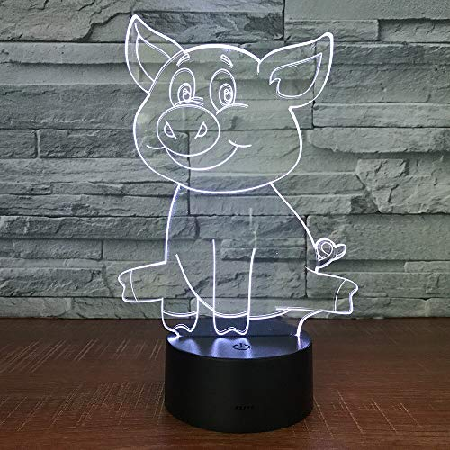 Múltiples colores Cute Pig Night Light 3D Touch 7 colores USB Desk Night Light Regalo para niños Regalo para niños Regalo de cumpleaños Adornos