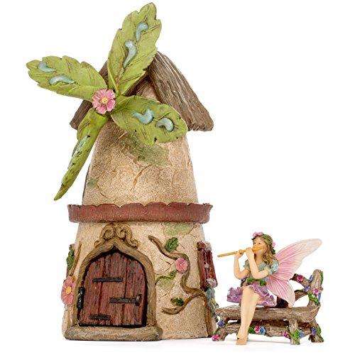 Miniature Fairy Garden House Kit - Mini Fairy Figurines - Indoor or Outdoor 3 Piece Accessory Set