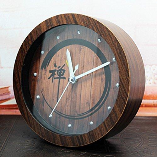 GYMAN Nostalgische tuin Chinese stijl hout Zen wekker luie desktop wekkers en Zen meditatie