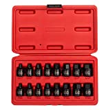 Sunex 3646, 3/8 Inch Drive Low Profile Impact Hex Driver Set, 16-Piece, SAE/Metric, 1/4 Inch - 3/4 Inch, 6mm - 19mm, Cr-Mo Steel, Dual Size Markings, Heavy Duty Storage Case, Meets ANSI Standards