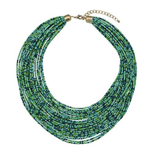 Bocar Multi Layer Chunky Lätzchen Aussage Samenperlen Cluster Kragen Halskette für Frauen Geschenk (NK-10351-aqua Green)