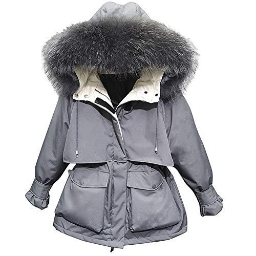 Graue Daunenjacke, weiblicher kleiner kurzer Werkzeugkragen aus echtem Pelz, um den Winter der Taillenverdickungsjacke zu überwinden-M