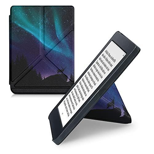 kwmobile Carcasa Compatible con Kobo Nia - Funda magnética de Origami para e-Book - Ciervo con la Aurora Boreal Turquesa/Azul/Negro