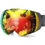findway Gafas de Esquí, Gafas Esqui Snowboard Nieve para Hombre Mujer OTG, Anti Niebla Gafas de Esquiar Ventisca Protección UV,Rojo Magnéticos Esférica Lentes Interchangeable Spherical Lens OTG