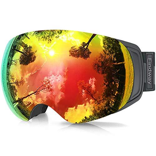 findway Skibrille für Brillenträger Herren Damen,Snowboardbrille mit Magnetischen Wechselgläsern, Rot Verspiegelt Snowboard Brille Magnet Brillenträger Polarisierend