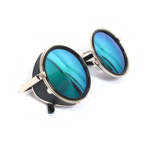 Steampunk Vintage Inspired 50s Round Glasses Blinder Circle Sunglasses Gold & Black Frame (Sky Blue Lens)