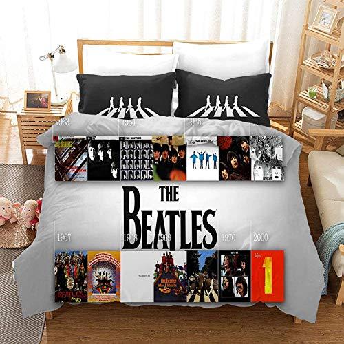 3D The Beatles Duvet Quilt Cover with Zipper,2/3-Piece Beatles Music Album Featured Bedding Set,for Boys Kids Single Double King Size Bed Decor (R,200X200)