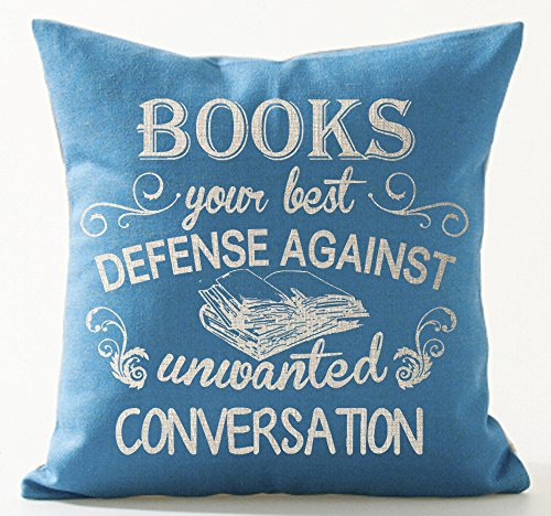 Book Lover Book Club Librarian Reading Books Your Best Defense Against Unwanted Conversation Cotton Linen Throw Pillow Case Cushion Cover NEW Home Office Indoor Decorative Square 18 X 18 Inches
