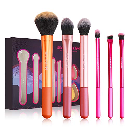 SEVEN FOUR AM Cosmetics Brushes Kit Powder Kabuki Paddle Foundation Brushes for Face Shader Blending Eyeshadow Eyeliner Brow Brushes for Eyes 6 pcs Synthetic Fiber Daily or Travel Uses