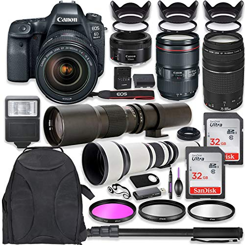 Canon EOS 6D Mark II DSLR Camera w/ 24-105mm USM Lens Bundle + Canon EF 75-300mm III Lens, Canon 50mm f/1.8, 500mm Lens & 650-1300mm Lens + Deluxe Backpack + 64GB Memory + Monopod + Pro Bundle