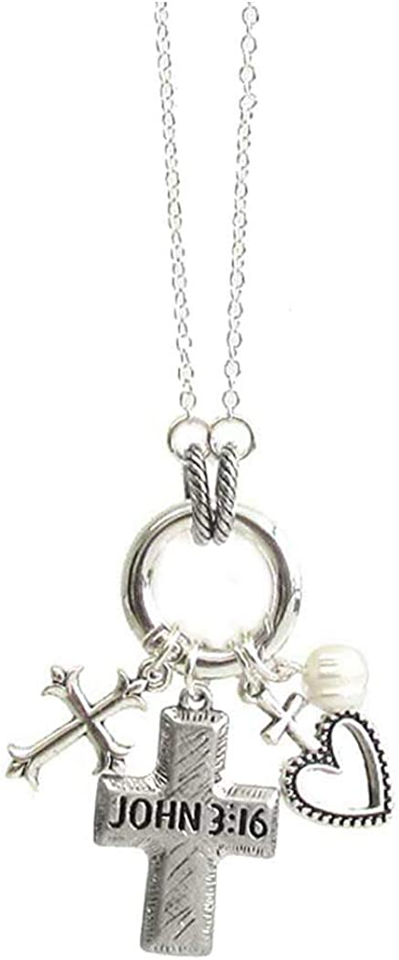 Fashion Jewelry ~ John 3:13 Cross Religious Inspiration Pendant Necklace for Women Teens Girlfriends Birthday Gifts