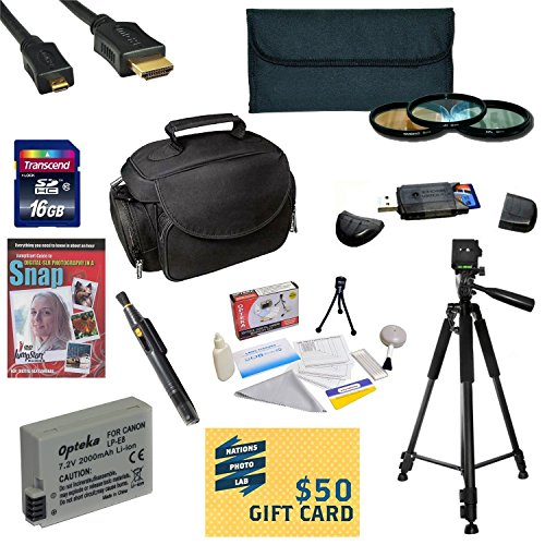 """47th Street Photo Best Value Accessory Kit For the Canon Rebel T2i, T3i, T4i, T5i, 650D, 700D, Kiss X5 Kiss X4, KissX6i, Kiss X7i, EOS 550D, 600D DSLR Digital Camera - Kit Includes 16GB High-Speed SDHC Card + Card Reader + Battery + Travel Charger + 58MM 3 Piece Pro Filter Kit (UV, CPL, FLD Lens) + HDMI Cable + Padded Gadget Bag + Professional 60"""" Tripod + Lens Cleaning Pen + Cleaning Kit + DSLR Camera Intro DVD Photo Print + More"""