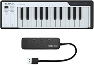 Arturia Microlab DAW Controller (Black) with Knox 3.0 4 Port USB HUB Bundle (2 Items)