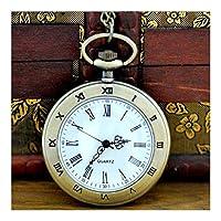 クラシックでスタイリッシュな懐中時計。懐中時計と懐中時計チェーン、ヴィンテージローマの片面フリップフリークォーツ、父の日子供の誕生日記念日の長老の贈り物として