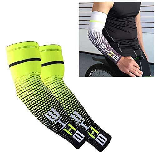 1 Paar kühlen Mann Radfahren Laufen Fahrrad UV Sonnenschutz Cuff Cover schützende Arm-Hülsen-Fahrrad-Sport-Arm-Wärmer Sleeves L (grün). (Color : Green)