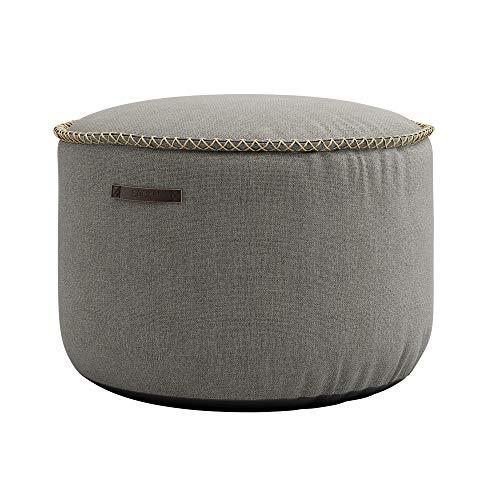 SACKit – RETROit Medley Drum Grau – Runder Indoor Hocker – Perfekt für das Wohnzimmer – Kombinieren Sie den Sitzhocker mit einem Sitzsack – Dänisches Design