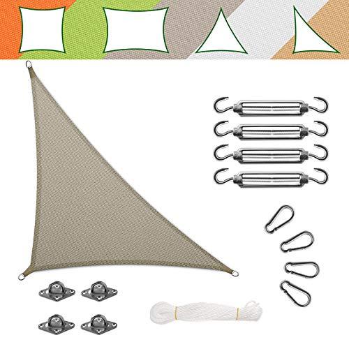 casa pura Voile d'Ombrage Triangulaire - Toile + Kit de Fixation Inclus   Toile Ombrage Imperméable   Voile Résistante Pluie/UV en 7 Tailles   Grise - 5x5x7m + Accroche