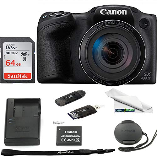 Cheapest Prices! Canon PowerShot SX430 is 20 MP Digital Camera (Black) - 64GB Expo Basic Accessories...