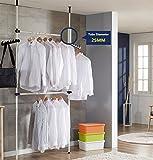 Robustes Kleidergestell mit zwei vertikalen, zwei horizontalen Teleskopstangen und Kleiderhaken, für Deckenhöhe bis 3,20 m -
