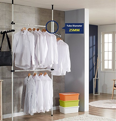 sococo Heavy Duty Portable Garment Rack, Telescopic Clothes Wardrobe 2 Poles 2 Bars, Wardrobe Organiser Movable Clothes Hanging Rail, High Ceiling up to 3.2m, Free Reach Hook