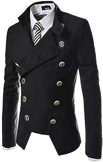 HX fashion Men's Blazer Men's Men's Cut Round Double Breasted Outerwear Comfortable Sizes Collar Coat Suit Jackets Tuxedo ...