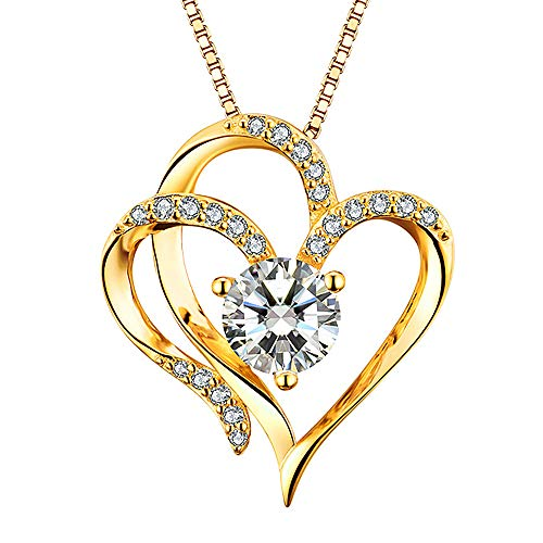 Heart Necklace 14K Yellow Gold Plated 5A Cubic Zirconia Pendant Gold Necklace...