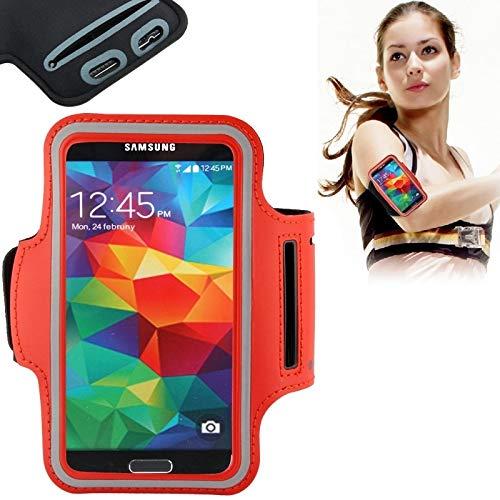 BANAZ Teléfono Caja del Brazalete del Deporte De La PU del Caso con El Auricular del Agujero Y La Llave del Bolsillo por Un Galaxy S7 / S6 Y S6 Edge / S5 / S4 / S3 St (Color : Red)