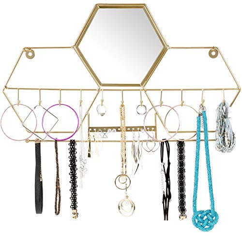 Wall-Mounted Jewelry Storage Organizer Metal Holder Hanging Mirror Display Hooks for Hanging Rings Earings Necklace Holder Home Decor