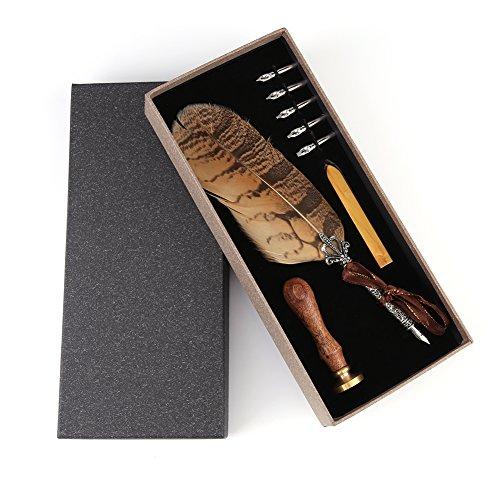 Antieke verenkielset kalligrafie dip pen kit met 5 roestvrijstalen punten + wax kaars + stempel