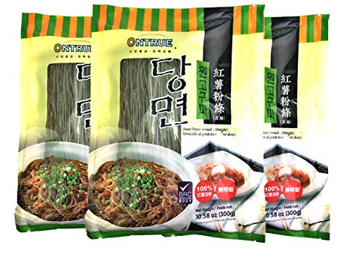 ONTRUE Sweet Potato Noodles, Korean Vermicelli Pasta, Fat-free and Gluten-free, 100% Sweet Potato Starch, No Additive, No Alum inside, 10.58 Oz(Pack Of 3)