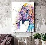 mlpnko DIY Pintar por números Cabeza de Elefante asiático Pintar por Numeros Kit con Pinceles y Pinturas Pintura de Bricolaje sobre Lienzo para Adultos