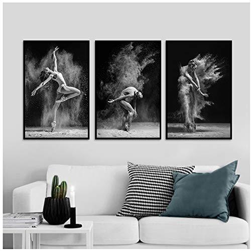 YANGDINGYAO Leinwand Wandkunst Weiß Schwarz Tanz Körper Wandkunst Leinwand Malerei Bild Poster Dekor Für Zuhause Wohnzimmer
