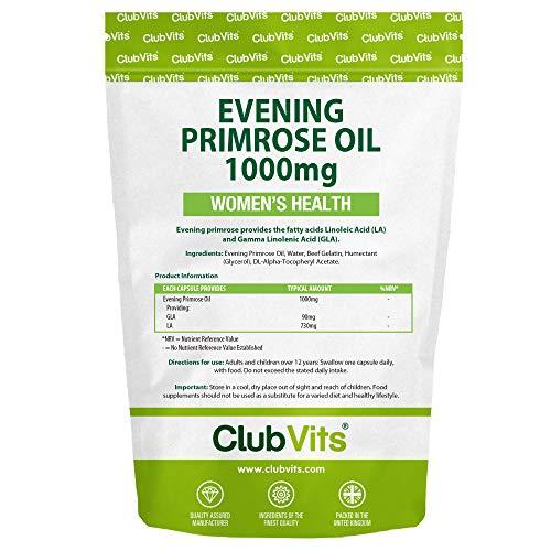 Club Vits Nachtkerzenöl 1000mg - 365 Kapseln Druckverschluss Beutel