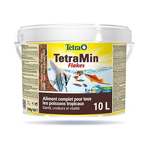 TetraMin en Flocons - Aliment Premium Complet pour Poissons Tropicaux de Surface - Favorise la Croissance la Santé et la Longévité - Renforce la Couleur - 10 L