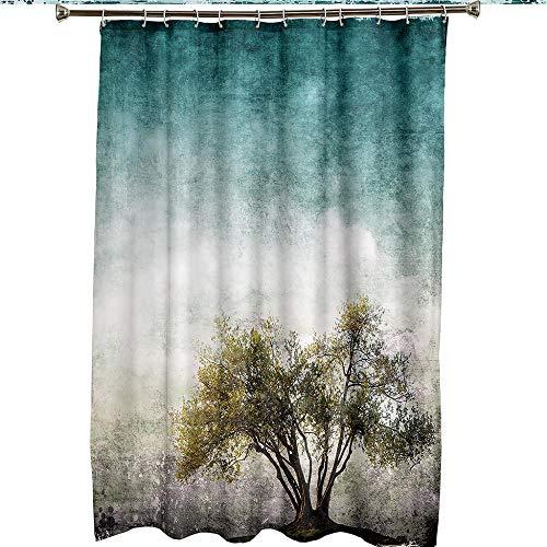 Duschvorhang Gelbgrüner Baum , Duschvorhang Grün Wasserdicht Anti Schimmel Duschvorhang mit Haken 51