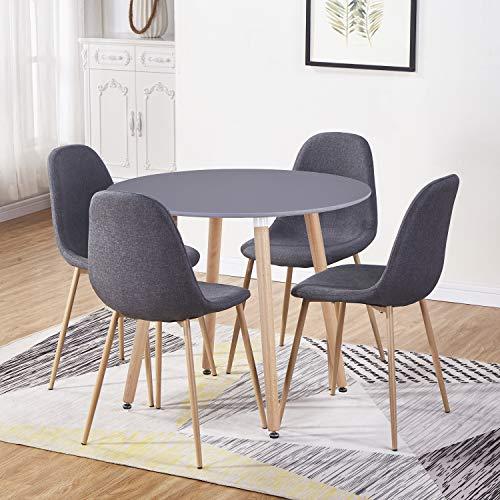 GOLDFAN Moderner Matt Lackierter Runder Küchen Esstisch mit 4 Esszimmerstühlen Geeignet für Esszimmer Büro Wohnzimmer, Grau