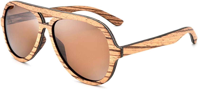 SFNJL Over Size Wood Sunglasses For Men And Women,Polarized Lens Wood Uv400