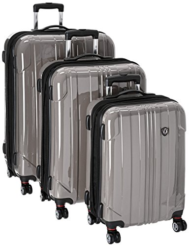 Traveler's Choice Sedona 100% Pure Polycarbonate Expandable Spinner Luggage, Pewter, 3-Piece Set
