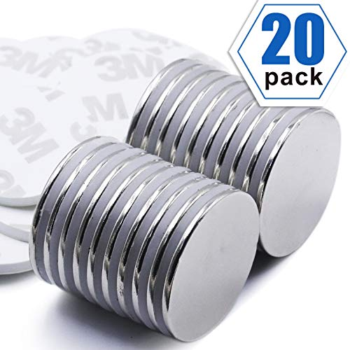 LOVIMAG Strong Neodymium Disc Magnets with Double-Sided Adhesive Powerful Rare Earth Magnets, Perfect for Fridge, DIY, Building, Scientific, Craft, and Offic, 1.26 inch x 0.08 inch - Pack of 20