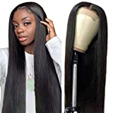 Quentina 4X4 Lace Front Wigs Straight Human Hair Wigs Brazilian Human Hair Lace Closure Wigs Echthaar perücken für schwarze Frauen 150% Density Pre Plucked with Baby Hair Natural Color (20 Zoll)