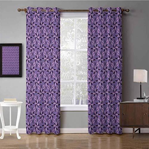 Black Out Cortina de ventana Flores geométricas florecientes con nacimiento de la naturaleza Temporada Tema Primavera Verano Violeta oscuro Lila violeta Estampado Decoración para el hogar Cortinas de