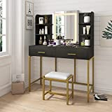 POVISON Vanity Desk with Lighted Mirror, Makeup Vanity Table with Touch Dimming Mirror, Adjustable LED Light, 2 Drawers 6 Shelves and Cushioned Dressing Stool, Black